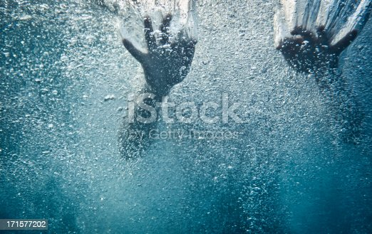 Underwater shot of a woman swimming