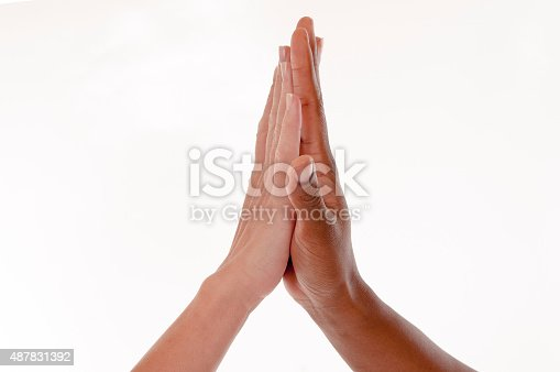 Black-white Give me five gesture - isolated on white background, High-Five, African Ethnicity, Black Color, Human Hand, Sport, Charity and Relief Work, Human Hand, Multi-Ethnic Group, Teamwork, Community
