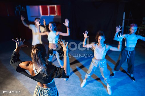 Group of young caucasian dancers practicing their performance at the dance studio