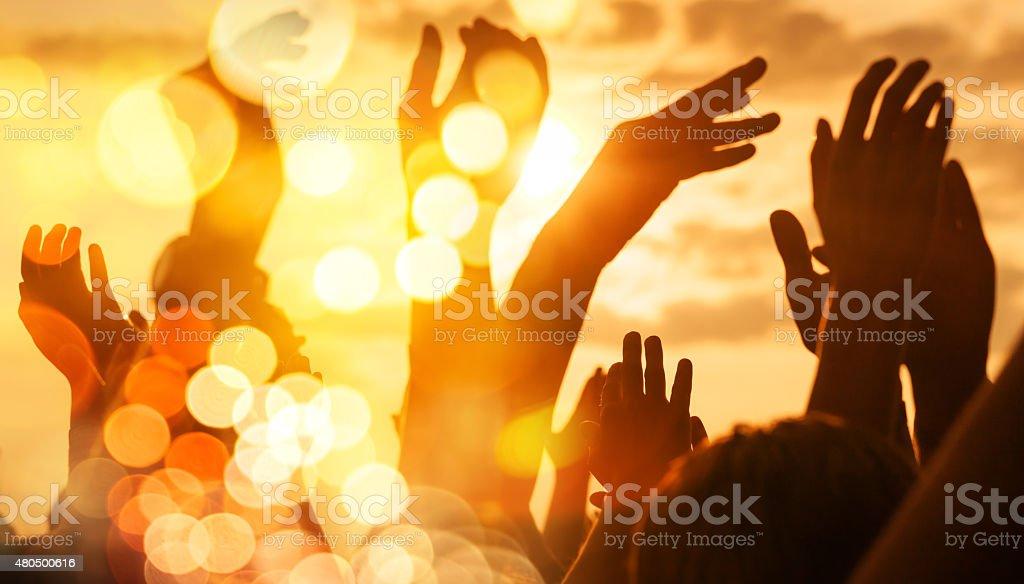 Hands Up, double exposure stock photo