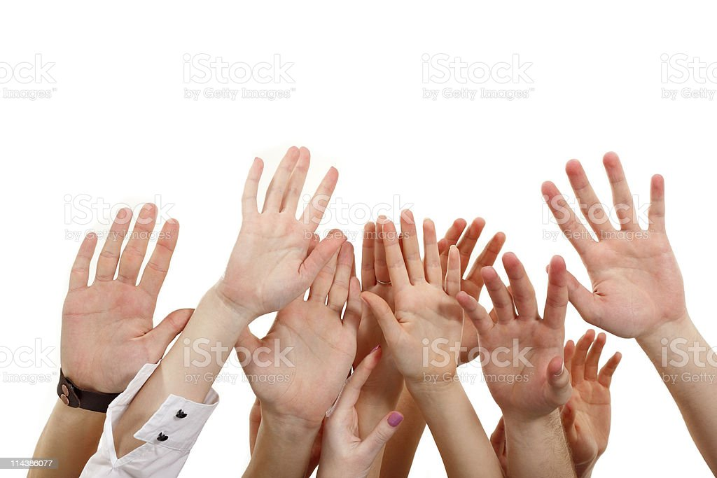 hands up group people royalty-free stock photo