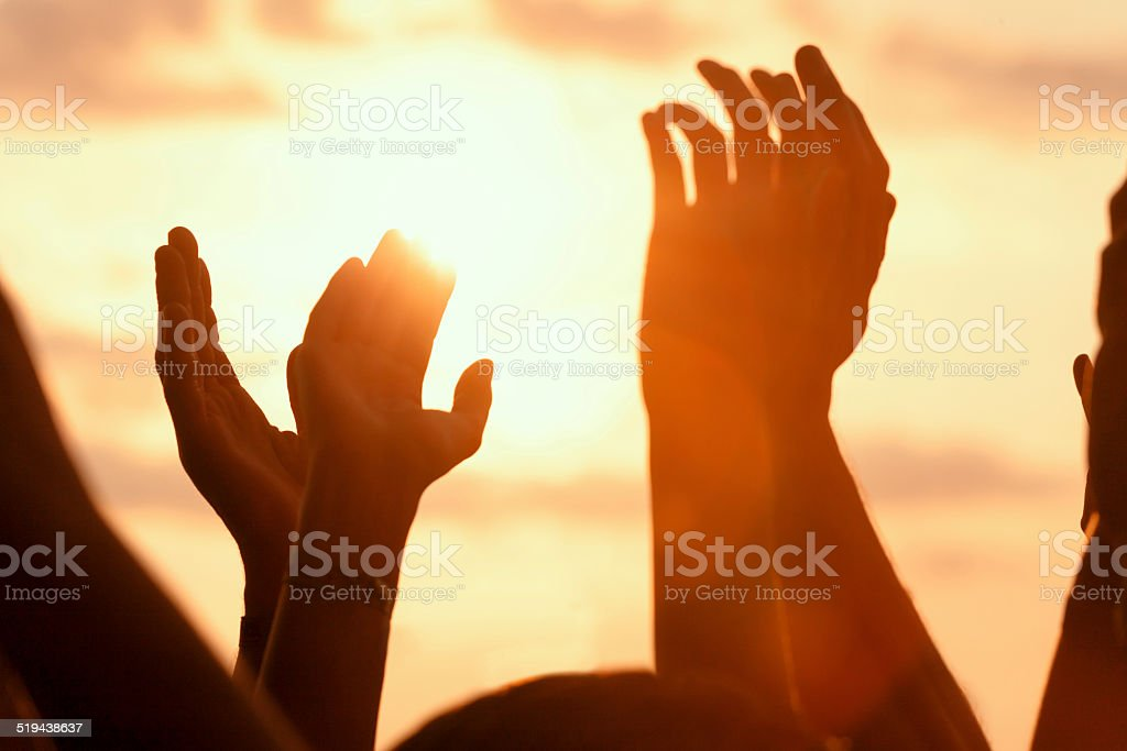 hands up in a open air rock festival stock photo