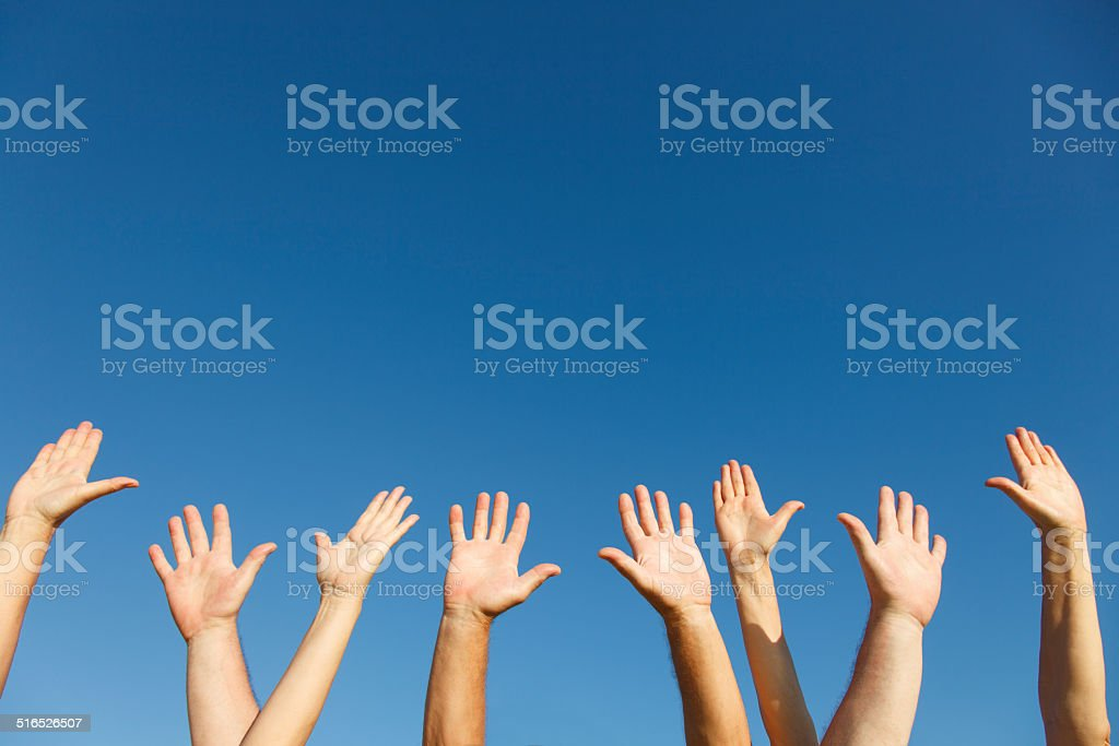 Hands up In the Sky stock photo