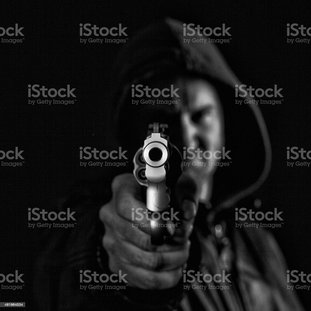 Hands up, this is a robbery stock photo