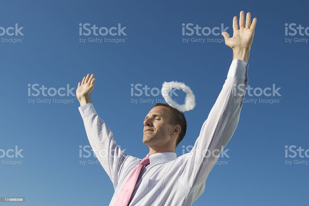 Hands Up with Halo royalty-free stock photo