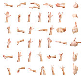 istock Hands up,Multiple male caucasian hand gestures isolated over the white background, set of multiple images 861125838