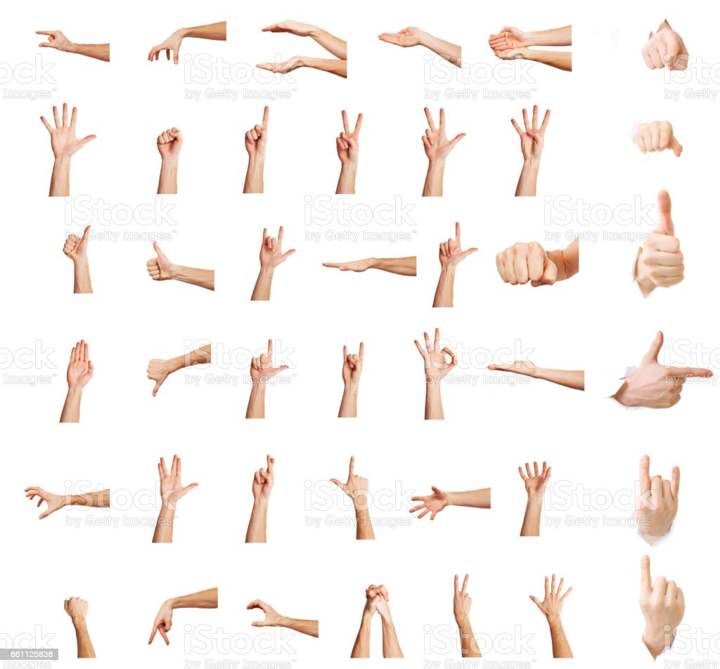 Hands up,Multiple male caucasian hand gestures isolated over the white background, set of multiple images stock photo