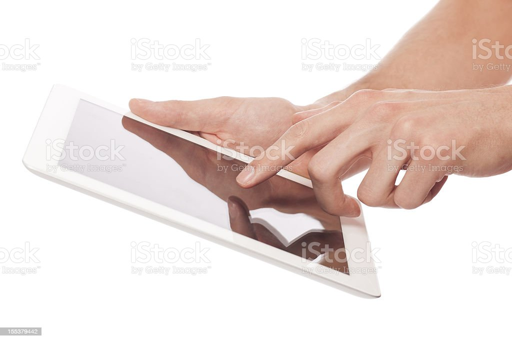 Hands using a digital tablet stock photo