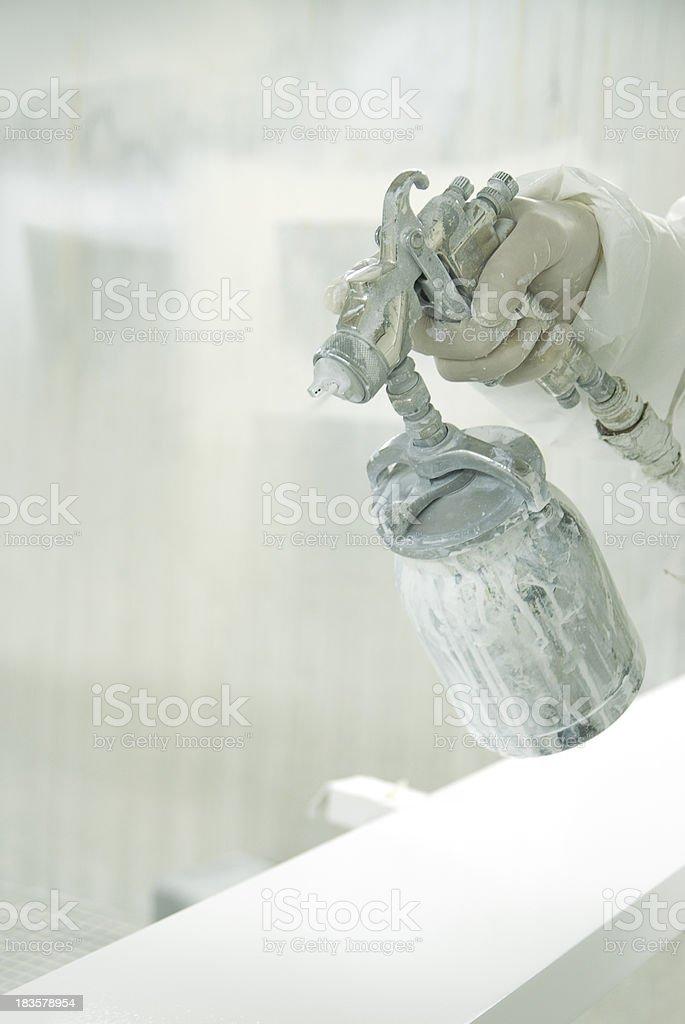 Hands using air brush royalty-free stock photo
