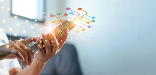 Hands using mobile payments, Digital marketing. Banking network. Online shopping and icon customer networking connection on virtual screen, Business technology concept stock photo