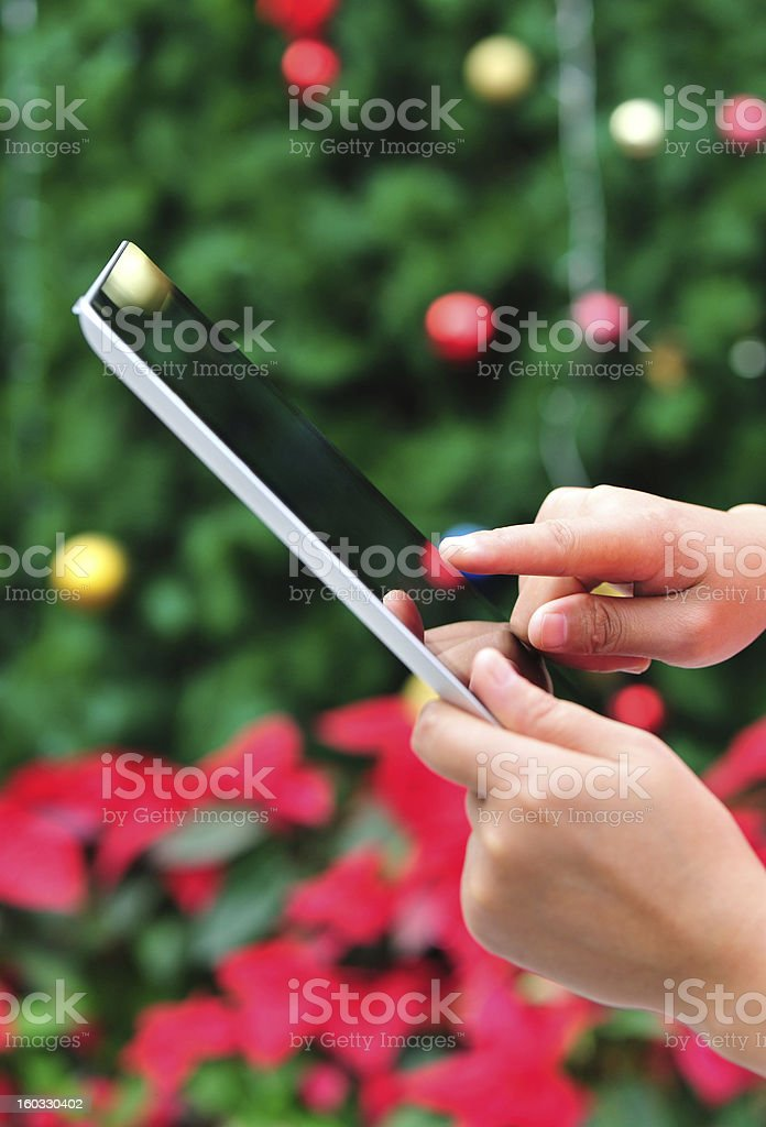 hands using tablet pc royalty-free stock photo