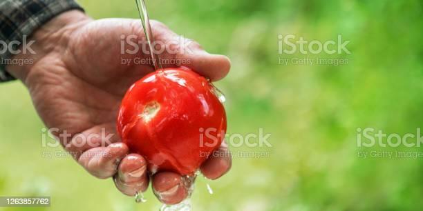 Photo of hands wash red ripe tomato under small water stream closeup