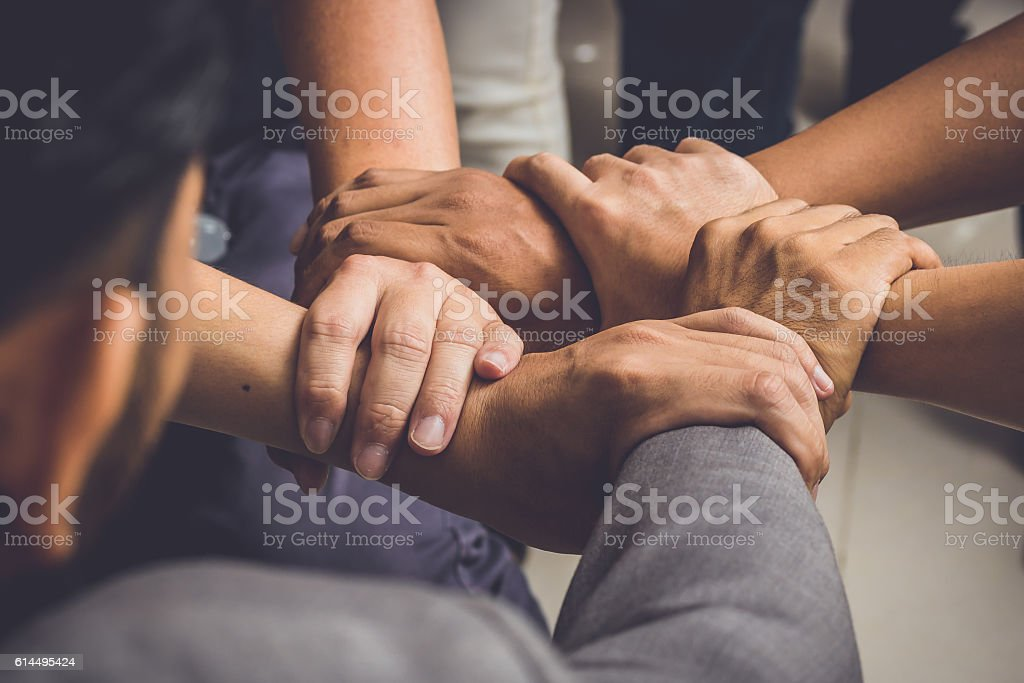 Hands were a collaboration concept of teamwork - Photo