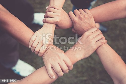 Hands Were A Collaboration Concept Of Teamwork Stock Photo ...