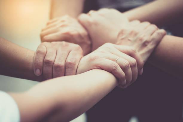 Hände waren ein Team Collaboration-Konzept – Foto