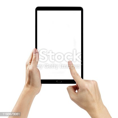 istock Hands with a tablet on white 1193673051