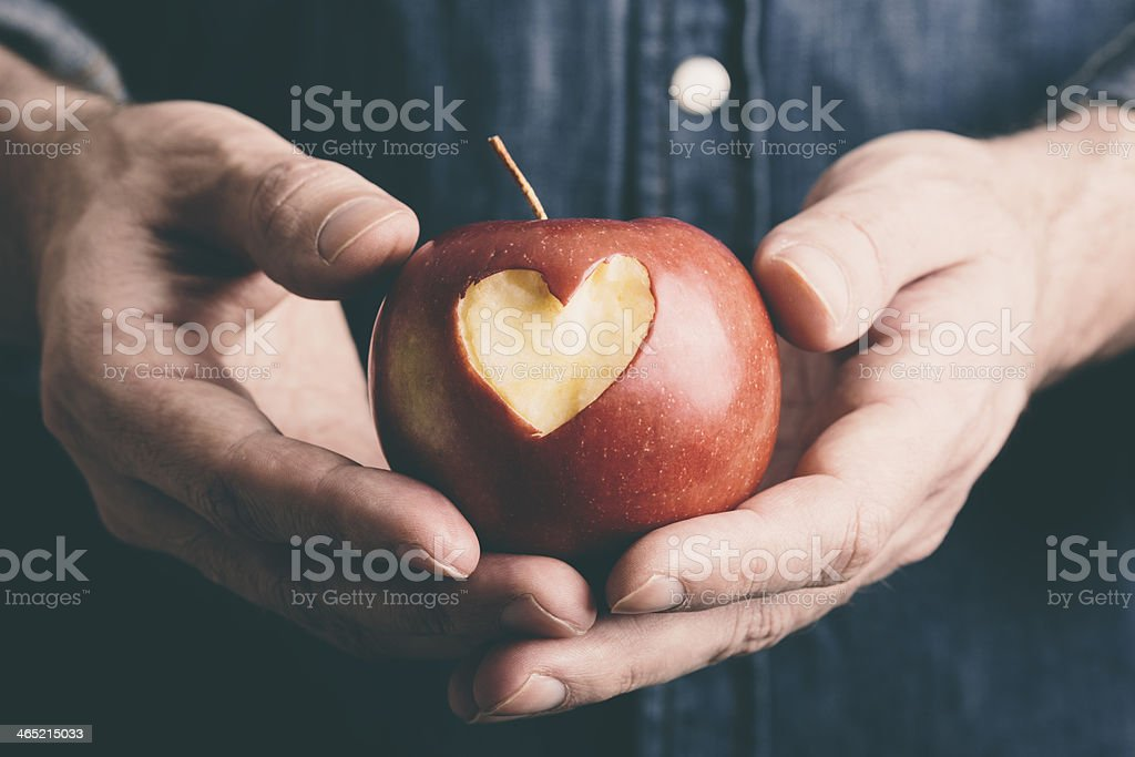 hands with apple stock photo