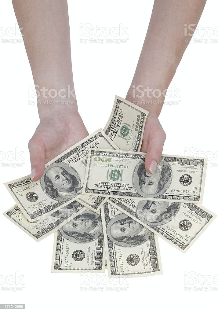 Hands with banknotes royalty-free stock photo