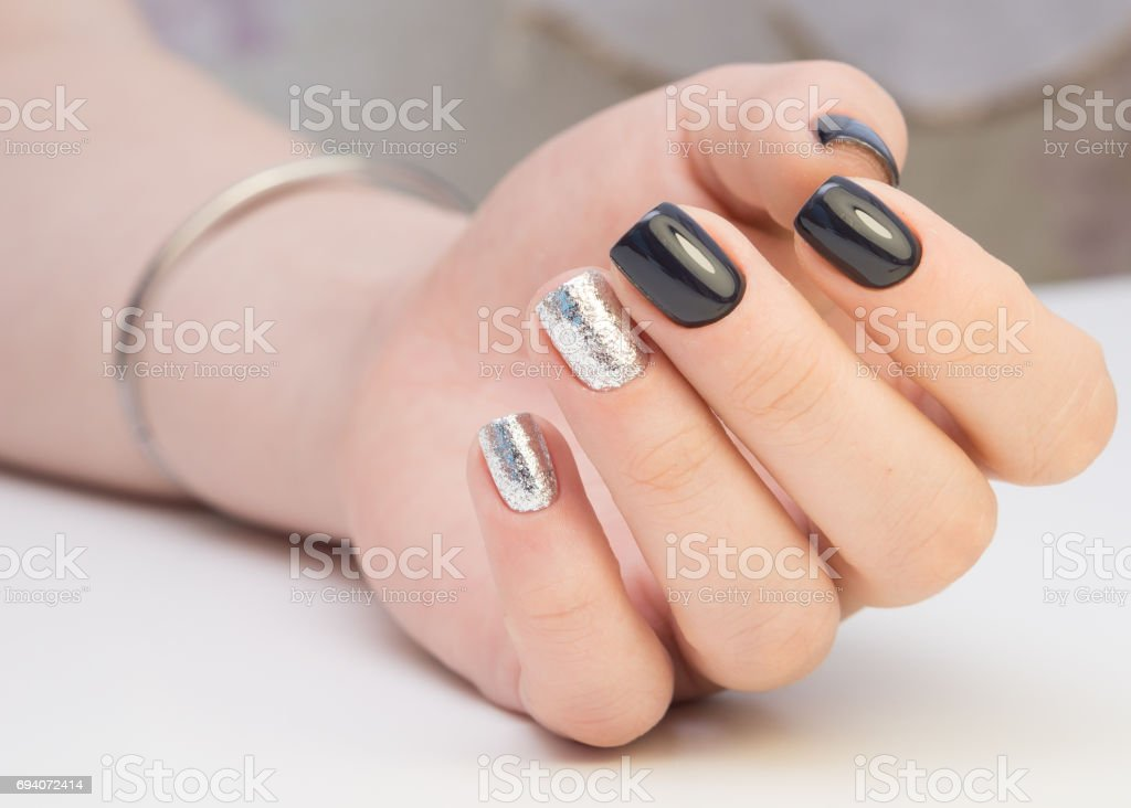 Hands With Beautiful Manicure Natural Nails With Gel Polish