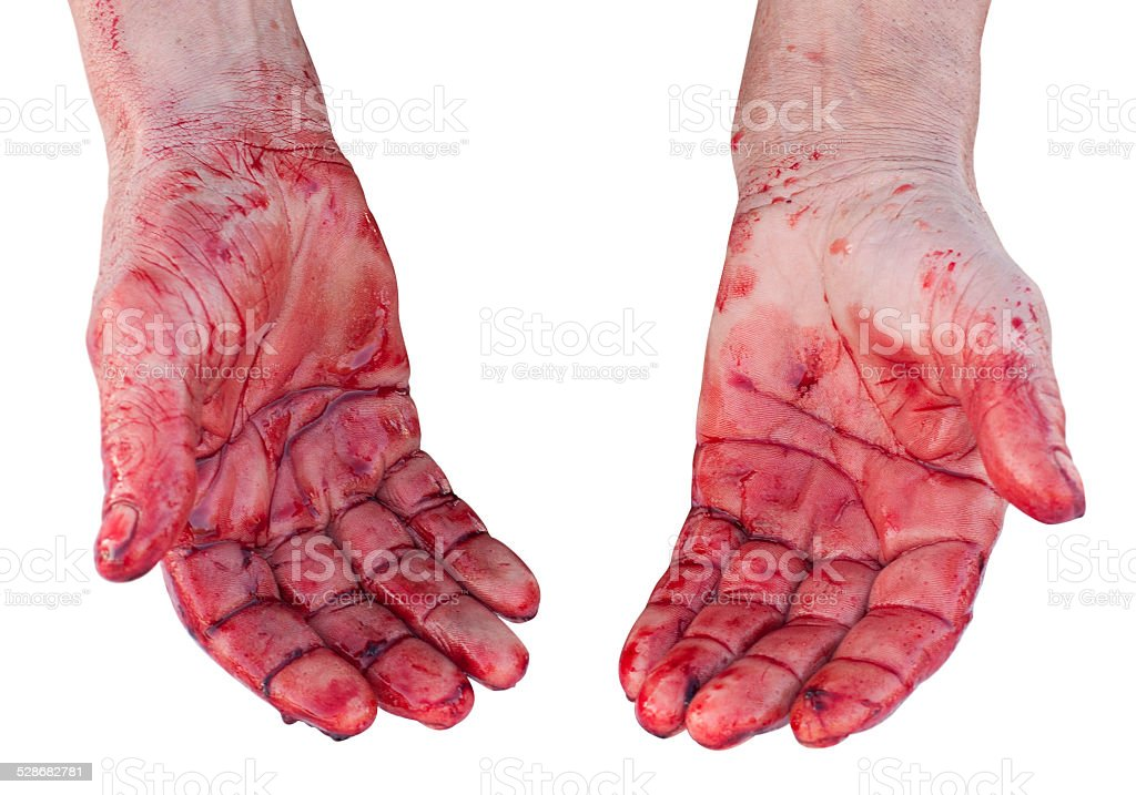 Hands with blood. Isolated stock photo