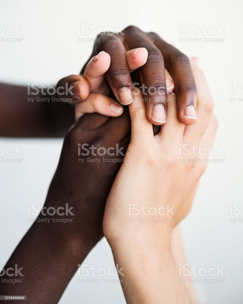 Hands with different skin colors on white background. stock photo