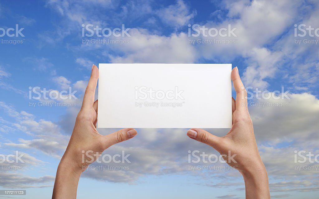 hands with envelope royalty-free stock photo