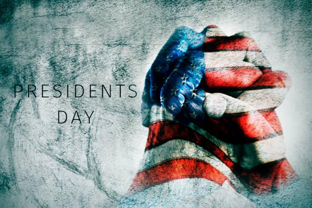 mãos com bandeira dos eua e texto presidentes dia - presidents day - fotografias e filmes do acervo