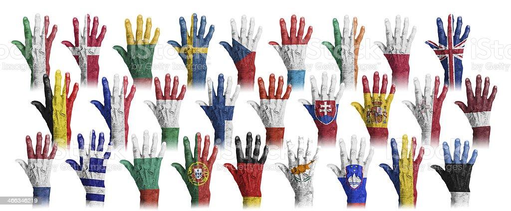 Hände mit Fahne Malerei der EU-coutries – Foto