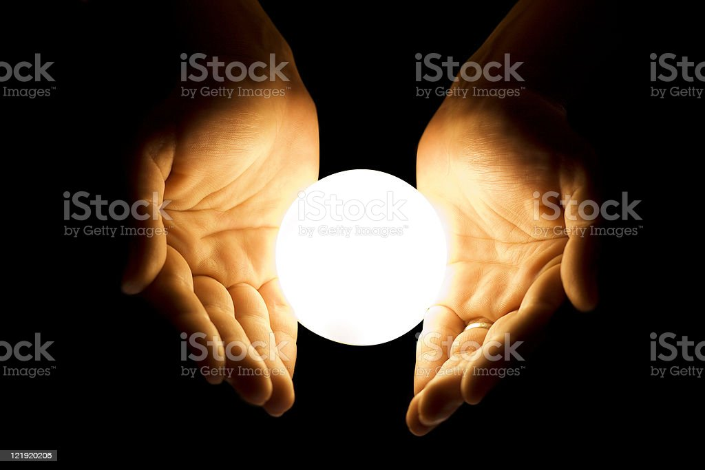 Hands with glowing ball  Adult Stock Photo