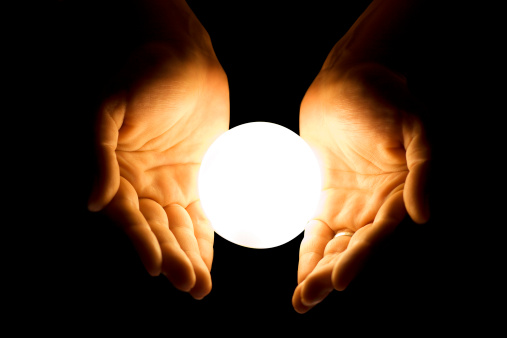Hands With Glowing Ball Stock Photo - Download Image Now