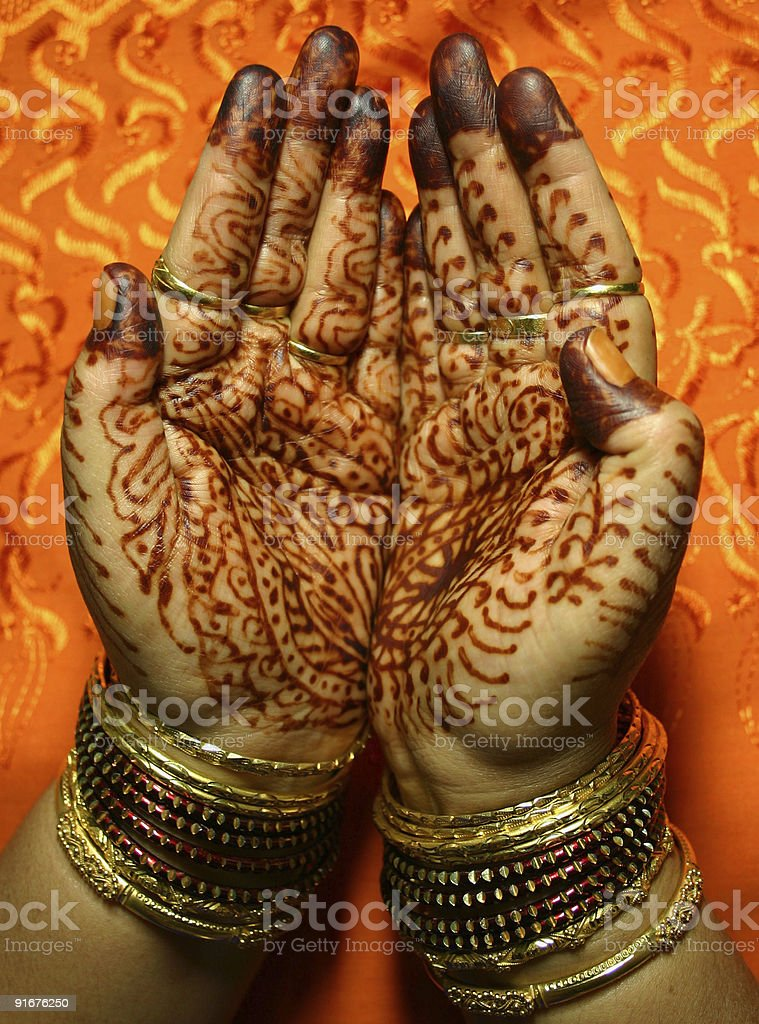 Hands with Henna design royalty-free stock photo