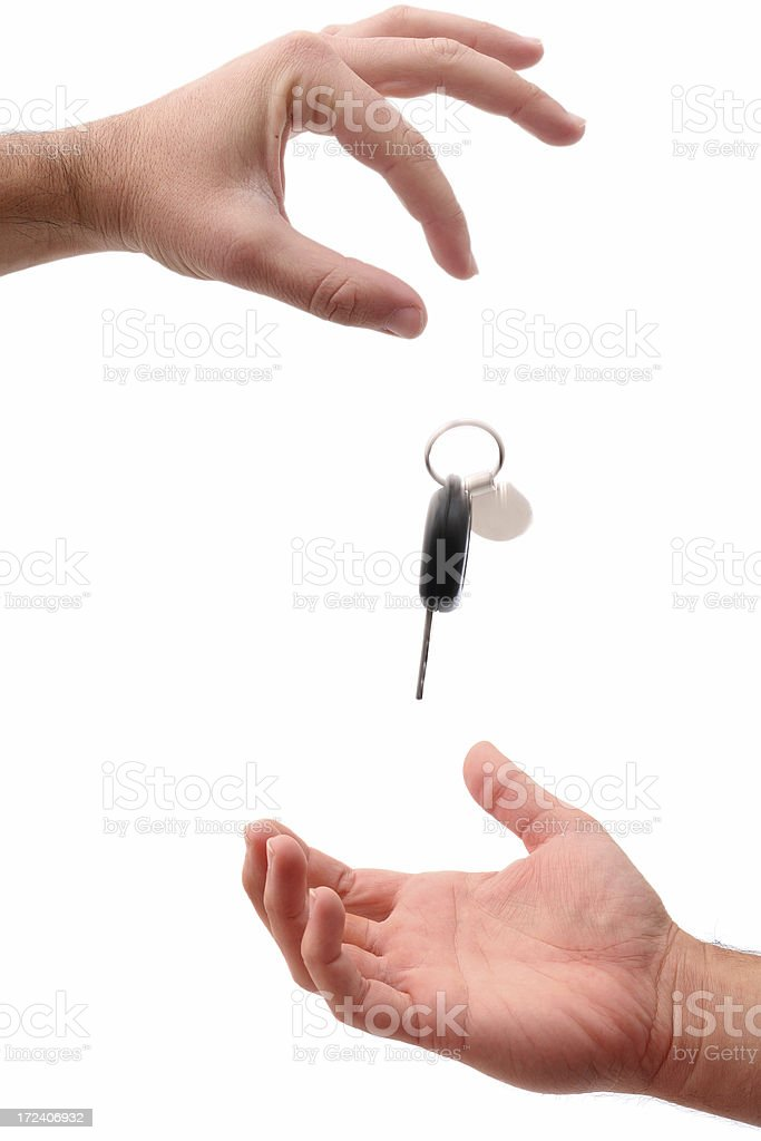Hands with keys stock photo