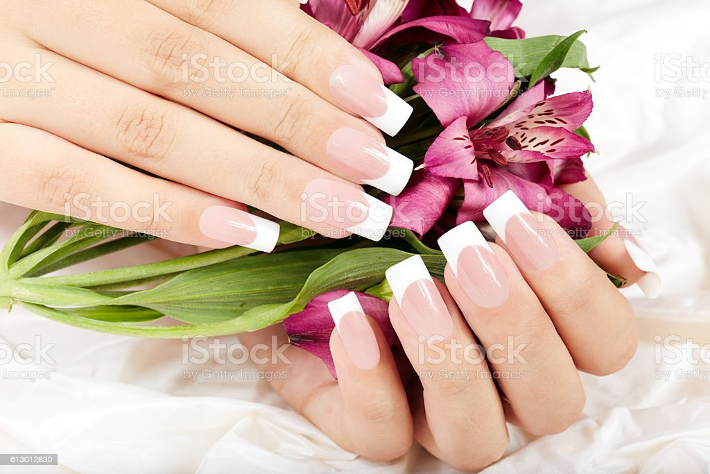 Hands with long artificial french manicured nails stock photo
