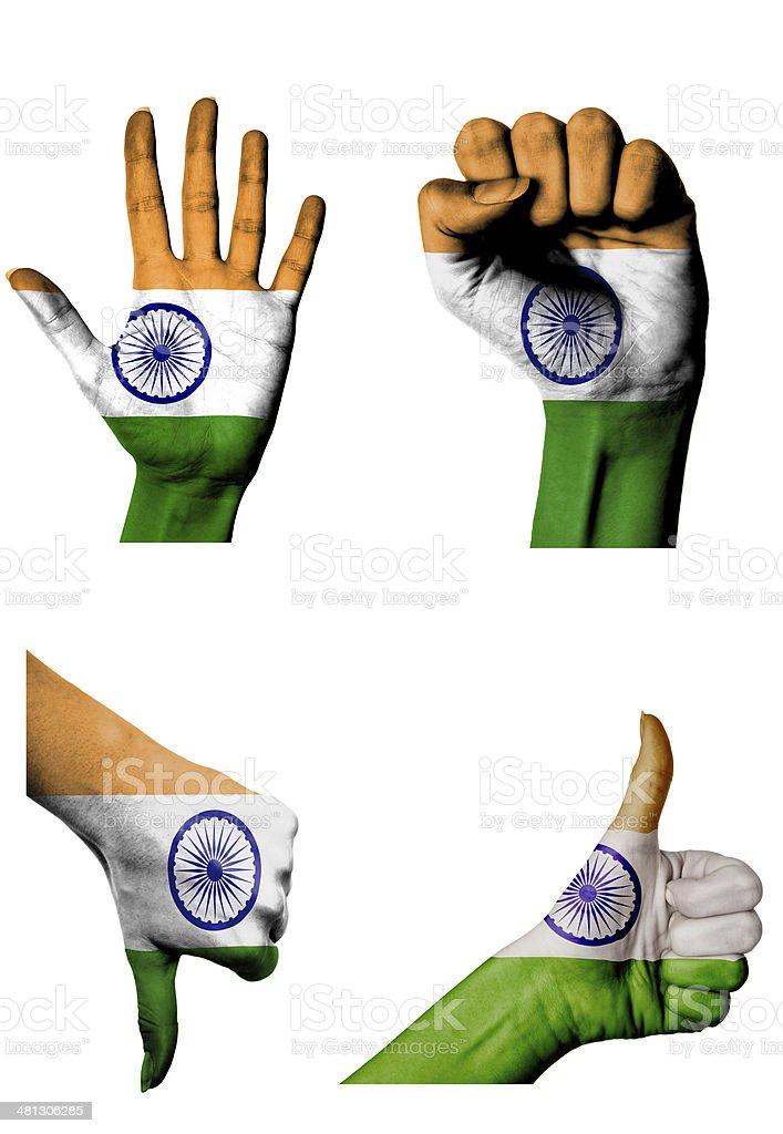 Mãos com diversos movimentos Índia - foto de acervo