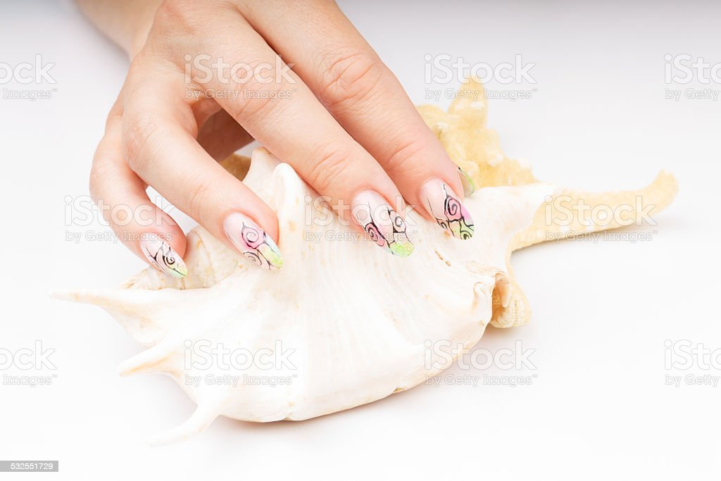 Hands With Nail Art Isolated On White Background Stock Photo More
