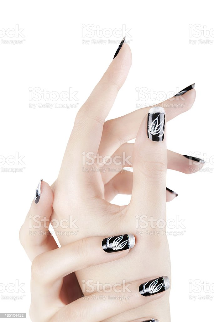 Hands with nails art stock photo