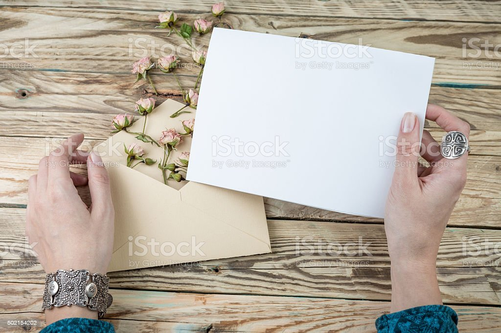 hands with notebook stock photo