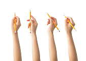 Hands with pencils set , isolated