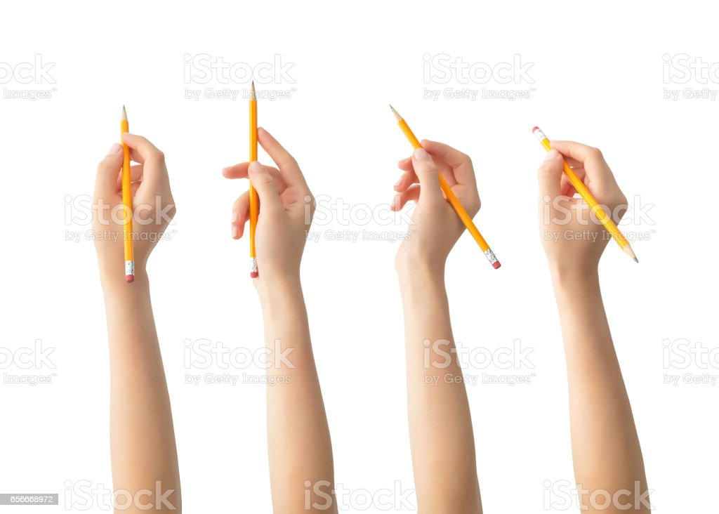 Hands with pencils set , isolated stock photo