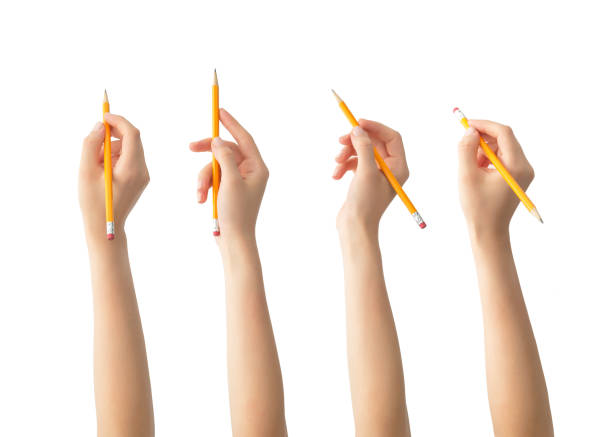 hands with pencils set , isolated - pencil stock photos and pictures