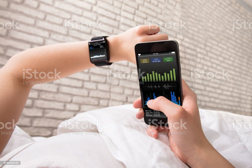 Hands With Smart Phone And Watch stock photo