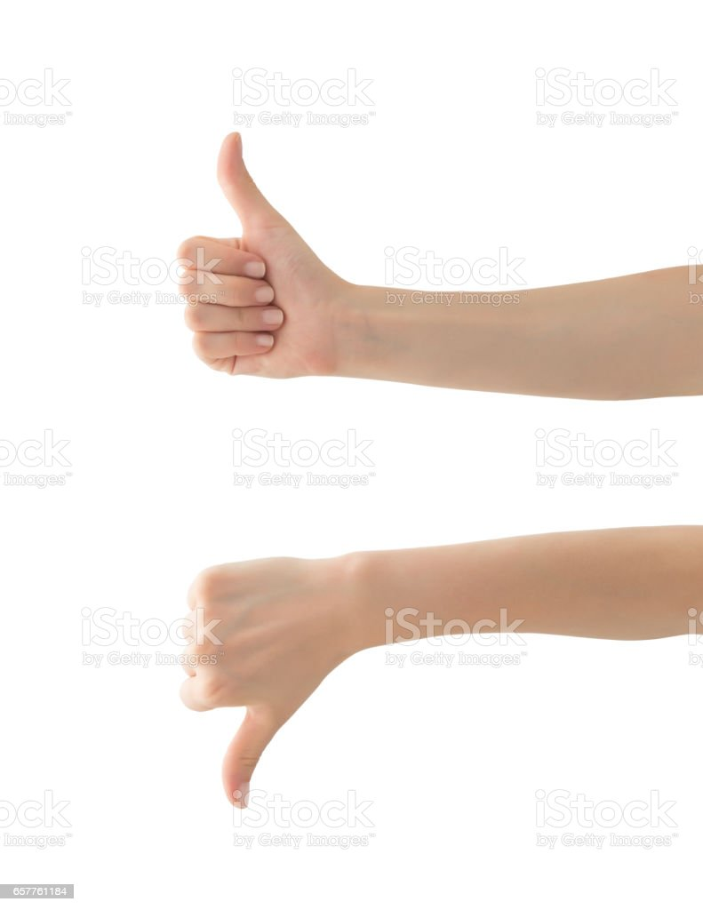 Hands with success and failure shape , isolated stock photo