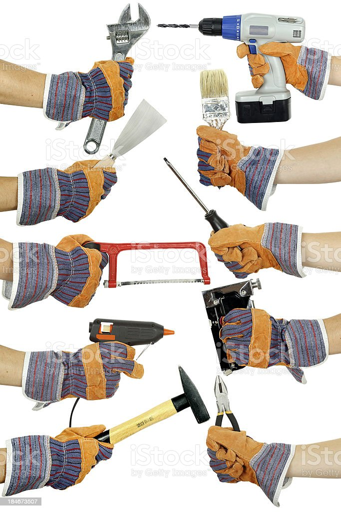 hands with tools royalty-free stock photo