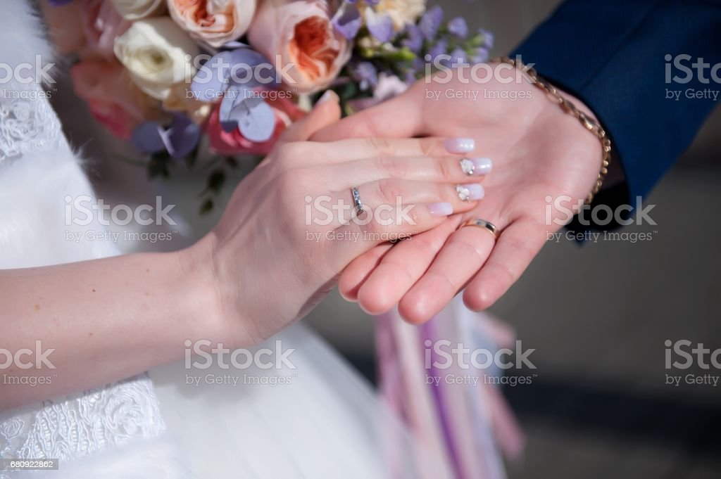 Hands with wedding rings royalty-free stock photo