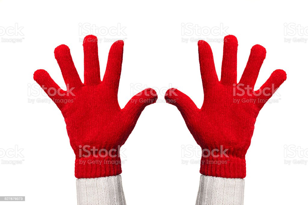 hands with woolen gloves stock photo