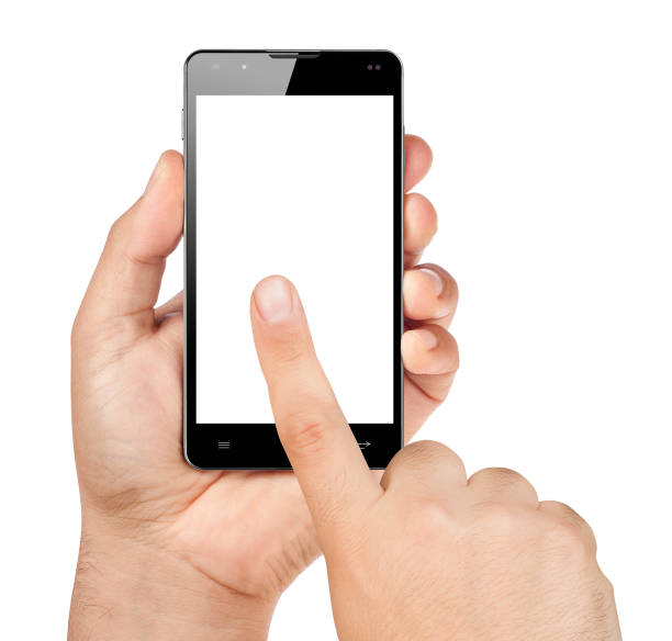 hands working with smartphone on blank screen isolated stock photo