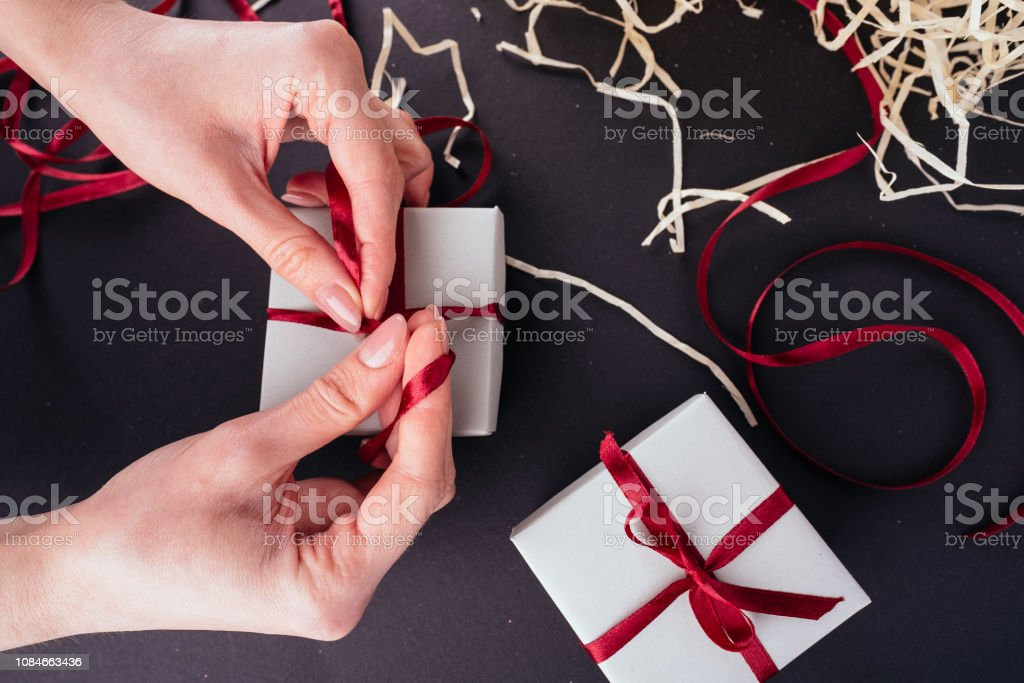 Hands works Preparation for Christmas New Year holiday background...