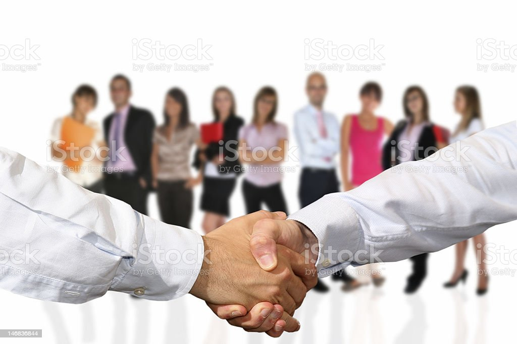 Handshake and business team stock photo