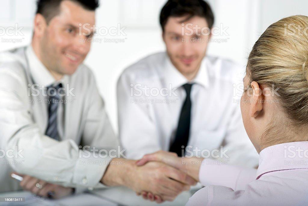 Handshake at job interview stock photo