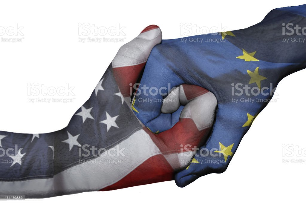 Handshake between United States and European Union stock photo